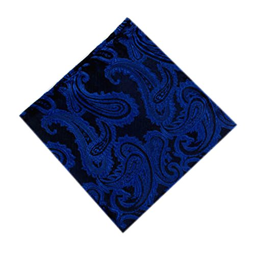 Set Various Pocket Paisley Tie Patterned Occasions Deep Square of Cufflinks Blue Men Wqcqxwn