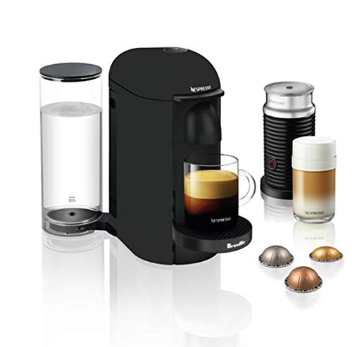 Nespresso VertuoPlus Coffee and Espresso Maker by Breville with Aeroccino, Matte Black