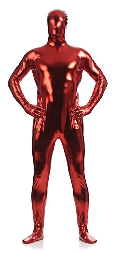 [VSVO Unisex Metallic Second Skin Spandex Full Body Suit for Adults and Children (Kids Large, Red)] (Bodysuit Superman Adult Costumes)