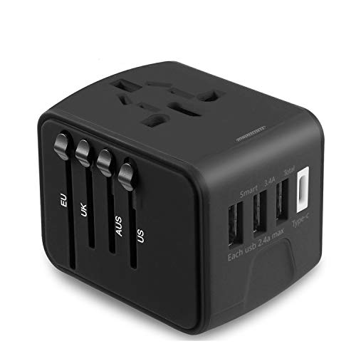 Travel Adapter, JMFONE Universal Travel Adapter 3.4A Type C 4 USB International World Power Plug Adapter Kit Travel Wall Charger with UK, EU, AU, US Plugs (black) (Does Not Convert Voltage)