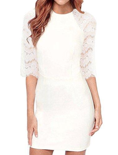 Allegra K Ladies Round Neck Elbow-length Sleeves Lace Bodycon Dress S White