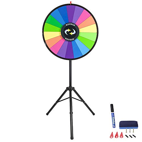 (ROVSUN 30'' Spinning Prize Wheel w/Iron Folding Tripod Floor Stand,18 Color Slots Large Spinner Dry Erase Mark Pen Win Fortune Spin Game, for Trade Show Carnival Casino Party Market Classroom Raffle)
