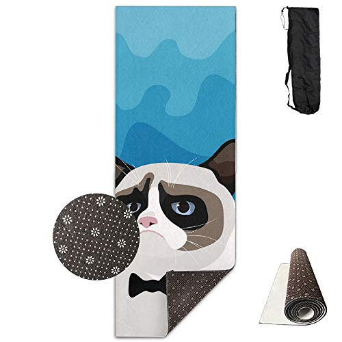 Birman Strap - Premium Print Yoga Mat - Grumpy Birman Cat With Black Bow Tie Model - Fitness With Carrying Strap & Bag