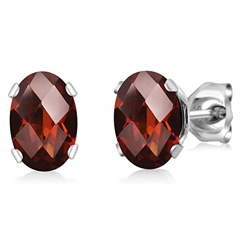 - Gem Stone King 1.60 Ct Oval Checkerboard Shape Red Garnet Sterling Silver Stud Earrings