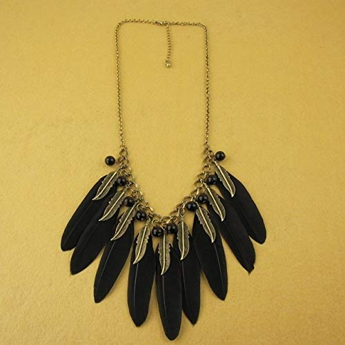 Jewelry | Vintage Leaves Black Feather Necklace | Neckless (3)
