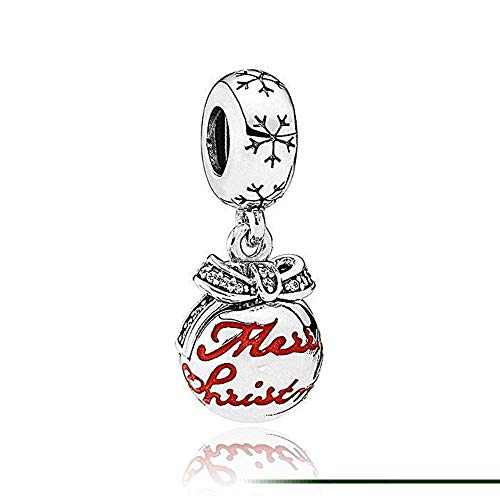 Romántico Amor Christmas Jingle Bells Charms with Bow Sliver Xmas Gifts Dangling Bead Fit Pandora Bracelets