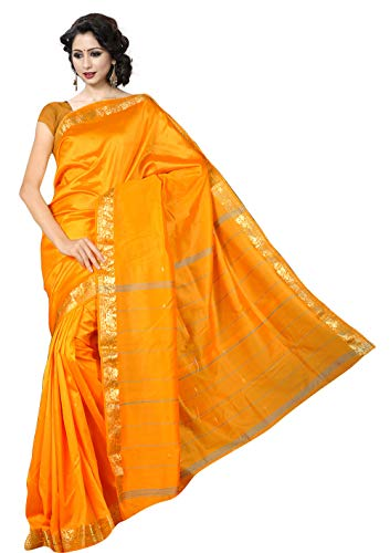 KoC Indian Traditional Ethnic Women wear Art Silk Saree -Orange Yellow