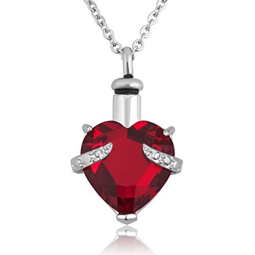 Crystal Heart Keepsake - 12 Colors Heart Crystal Cremation URN Necklace for Ashes Jewelry Memorial Keepsake Pendant