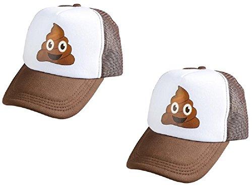 (Novelty Treasures Brown Emoji Pile of Poop Hat Trucker Cap (Set of 2)