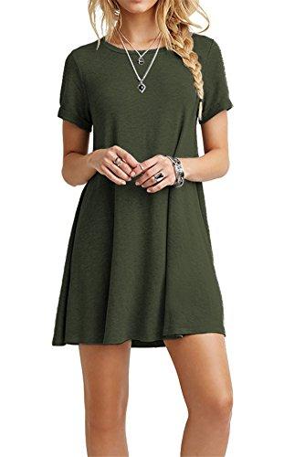 CPOKRTTWSO Women' s Casual Plain Tshirt Loose Dresses ArmyGreen (Louise Belcher Bunny Ears)