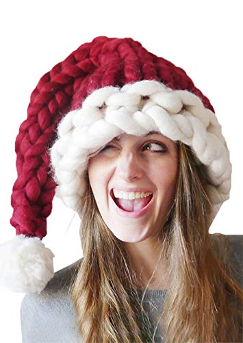 Christmas Hat Warm Thick Slouchy Knit Hat Handmade Long Tail Knitted Santa Hat (Red) ()