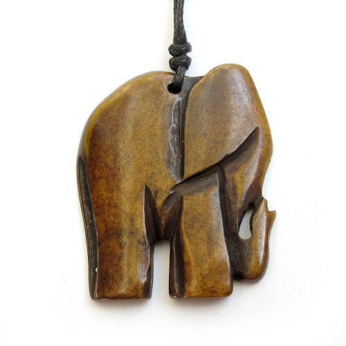 Ox Bone Carved Elephant Pendant Necklace