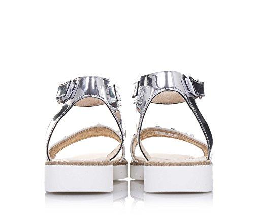 LIU JO - Sandale blanche et argent en cuir, made in Italy, avec fermeture en velcro, petites fleurs, Fille, Filles, Femme, Femmes