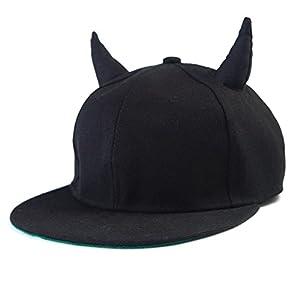 Zeroyoyo Stylish Snap Back Black Devil Horns Baseball Cap Hip Hop Hat