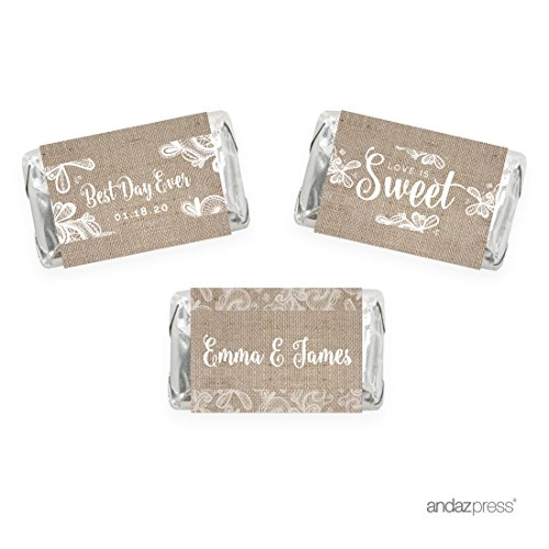 Andaz Press Burlap Lace Wedding Collection, Personalized Chocolate Minis Labels, Fits Hershey