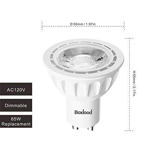 GU10 LED Bulbs Soft White 2700K, 6.5W 550LM 65W Equivalent, 120V, 40° Beam Angle LED Spotlight Recessed Lighting GU10 Track Lighting by Boxlood (6 Pack, Dimmable)