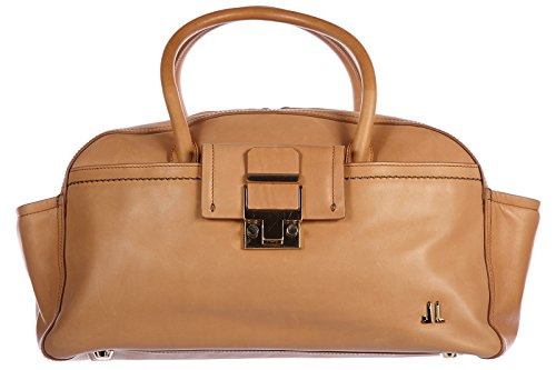 Lanvin women's leather handbag shopping bag purse bowling brown
