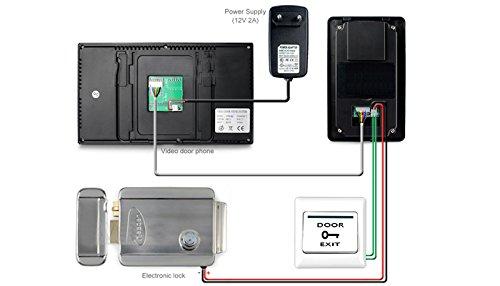 Lightinthebox 7'' Color Hands Free Video Door phone door lock system with 2 Monitors RFID keyfobs, Electronic Controlling Lock, Outdoor Camera
