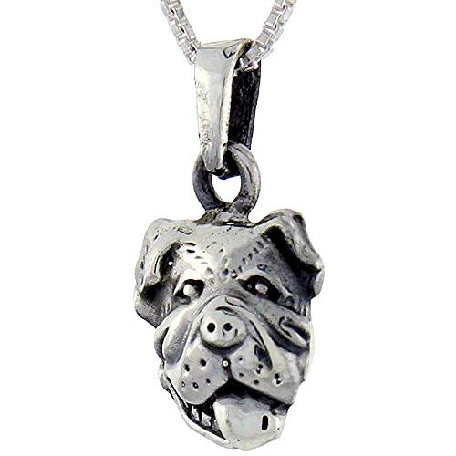 Sterling Silver Bulldog Head Pendant, 1 inch tall ()