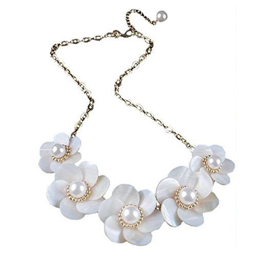 [LOMOL Europe and American Womens Fashion Shell Flowers Choker Necklace Costume Jewelry Christmas] (Leo Johnson Costume)