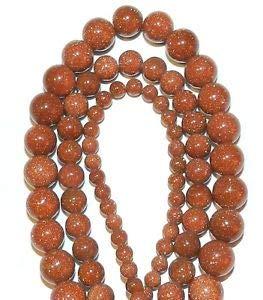 Goldstone Clip - GR346 3-Strands Brown Goldstone 4mm 6mm & 8mm Round Gemstone Beads 16