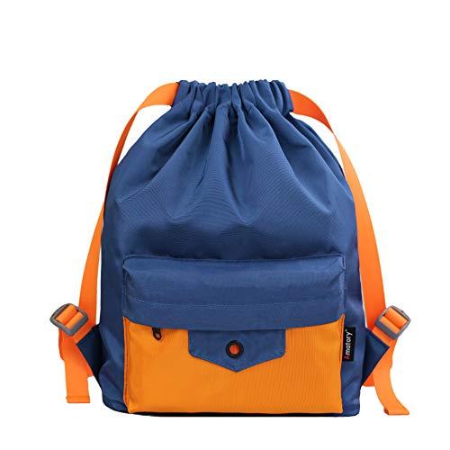 Drawstring Backpack String Bag Sackpack Sports Athletic Gym Sack Boys Girls Kids (Blue-Orange)