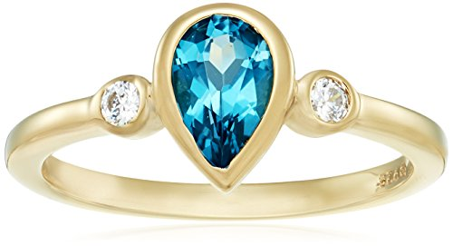Yellow-Gold-Plated Sterling Silver Pear-Shape Blue Topaz and Swarovski Zirconia Textured Finish Ring