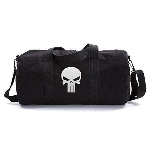 The Punisher Skull Vintage Army Duffel Sports Shoulder Bag, White on Black Canvas