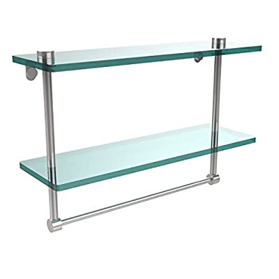 Allied Brass NS-2/16TB-PC 16-Inch Double Glass Shelf with Towel Bar