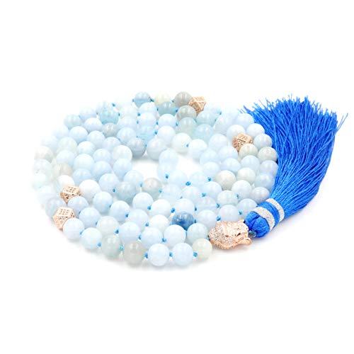 Mala Beads Necklace, Gemstone Mala Bracelet, Buddhist Prayer Beads Necklace, Tassel Necklace, Knotted Necklace (Aquamarine) ()