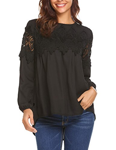 Sheer Sleeve Baby Doll Top (SoTeer Women Casual Boho Lace O-Neck 3/4 Sleeves Shirt Blouse Top(Black,XL))