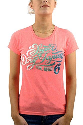 Superdry Damen T-Shirt Rosa Neon Pink Marl