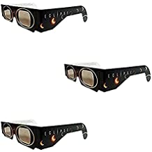 Set of 3 Solar Eclipse Glasses, ISO 12312-2 compliant and CE certified Eclipse Glasses for Direct Sun Viewing (Sun Circles)