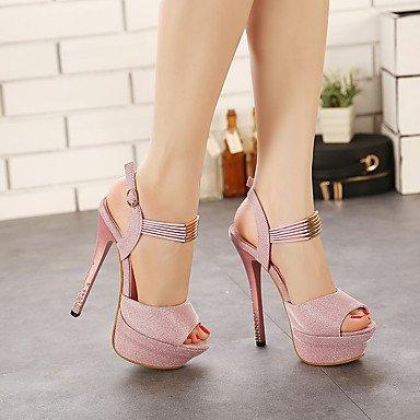 LvYuan Tacón Stiletto-Zapatos del club-Sandalias-Oficina y Trabajo Fiesta y Noche Vestido-Sintético-Rosa Gris Oscuro Pink
