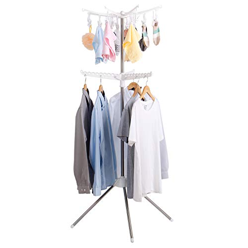 Lifewit Foldable Clothes Drying Rack 2-Tier Garment Rack Indoor&Outdoor for Baby Clothes, Cloth Diapers, Bras, Towel, Underwear