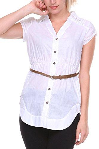 Stanzino® Women's Belted Button Down Shirt