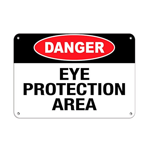 Danger Eye Protection Area Hazard Sign Safety Slogans Aluminum Metal Sign 7 in x 10 in Custom Warning & Saftey Sign Pre-drilled Holes for Easy mounting]()