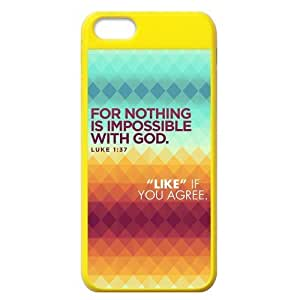 Apple Iphone 5C Case Cover Bible quote For nothing is impossible with god luke 1:45 Coolest hjbrhga1544