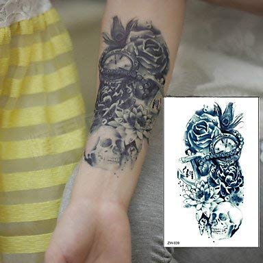 Amazoncom 1 Pcs Ttrendy Temporary Tattoo Flower Rose Clock Jewel