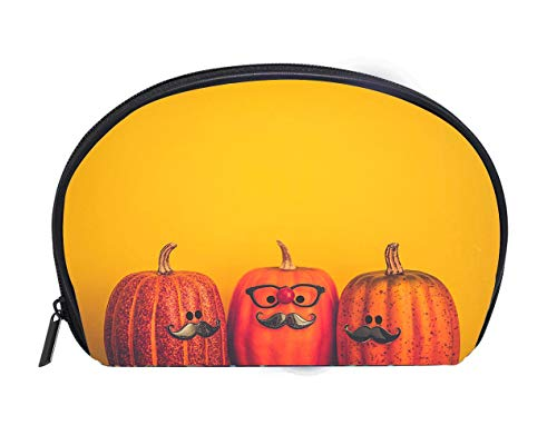 Custom design Portable Toiletry Cosmetic Bag Three pumpkin characters wearing mustaches for Halloween Travel Cosmetic Case Luxury Makeup Artist Bag ()