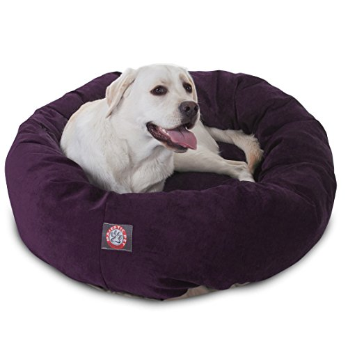 40 inch Aubergine Villa Collection Micro Velvet Bagel Dog Bed By Majestic Pet Products