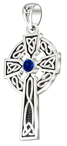 US Jewels And Gems Men's 0.925 Sterling Silver Synthetic Sapphire 1.5'' Irish Celtic Knot Cross Pendant by US Jewels And Gems