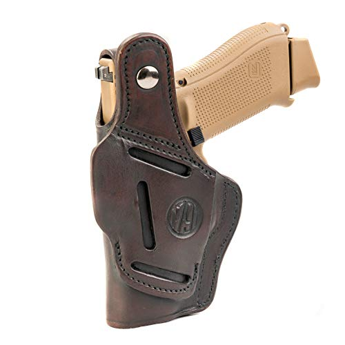 - 1791 GUNLEATHER Leather Gun Holster - 3 Way OWB Right Handed Thumb Break Holster - Fits Glock 17, 19, Ruger SR9 SR22, Sig P225, Springfield XDS, SW Shield MP9 MP40, Walther CCP, P22, Taurus G2 - Brown