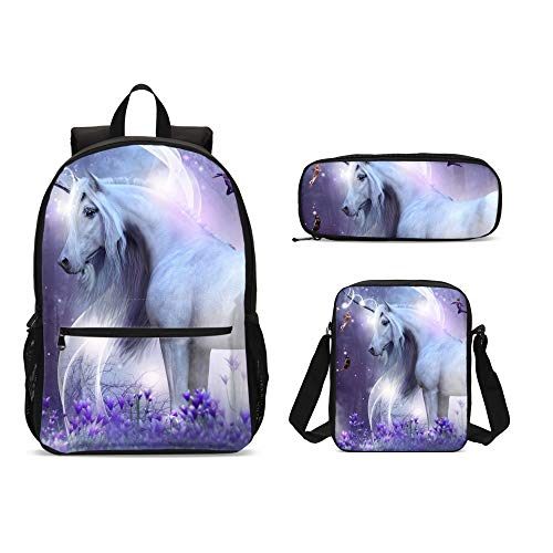 Delerain Unicorn Horse 3 PCs Backpack Set for Kids Back to School Bookbag with Shouder Bag and Pencil Case Durable Lightweight Travel for Teens Students Boys Girls (Horse Cooler 87)