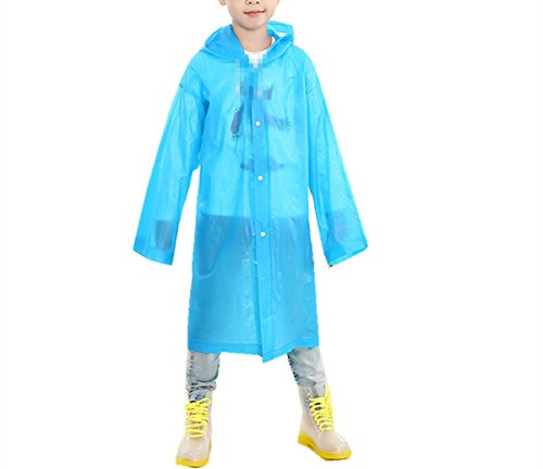 Yiluweinir Age 6~12 Kids Hooded Rain Jacket Raincoat Cover Long Rainwear Blue