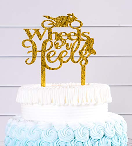 Gold Wheels or Heels Cake Topper,Birthday/Wedding Party Decorations.Women/Queen Cake Topper (Cake Wheel)