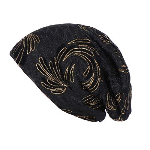 Loosebee Slouchy Beanie Skull Cap Hat Infinity Scarf Soft Chemo Chemo Muslim Turban Wrap Cap Hats for Cancer Black