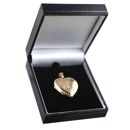 Médaillon à loquet en or Jaune 375/1000 en forme de cœur gravé à la main, de 30x28mm