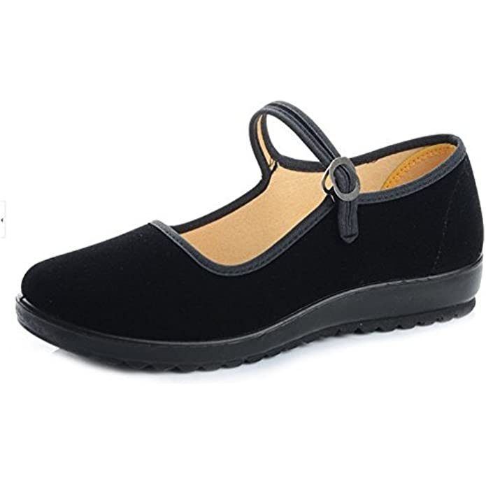 missfiona Black Cotton Mary Jane Dance Flat Old Beijing Cloth Walking Shoes for Women