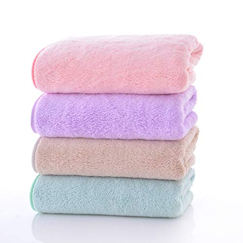 - Happy Yue 4-Piece Luxury Hotel & SPA Extra Soft Coral Fleece Towel Set-Extra Soft and Highly Absorbent, Lint Free,Multipurpose Towels-Multicolor Combination